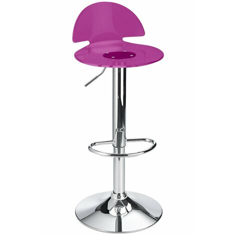 Celeston Purple Kitchen Breakfast Bar Stool Perspex Transparent Height Adjustable