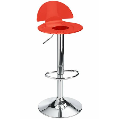 Celeston Red Kitchen Breakfast Bar Stool Perspex Transparent Height Adjustable Red Acrylic