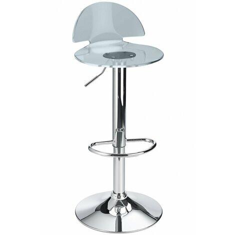Celeston Smoked Kitchen Breakfast Bar Stool Perspex Transparent Height Adjustable Smoked Acrylic