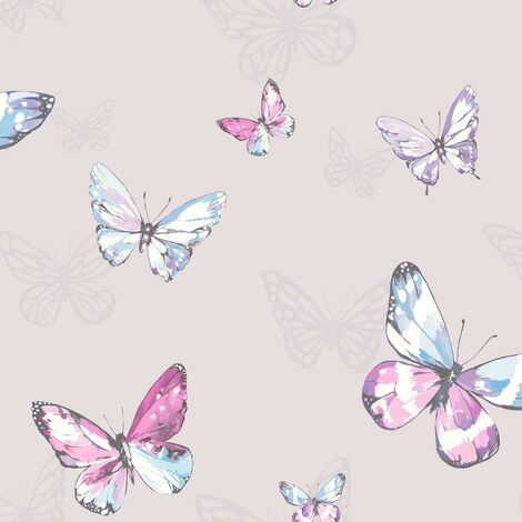 Celia Wallpaper Holden Heather Pink Butterfly Purple Glitter Paste The Wall