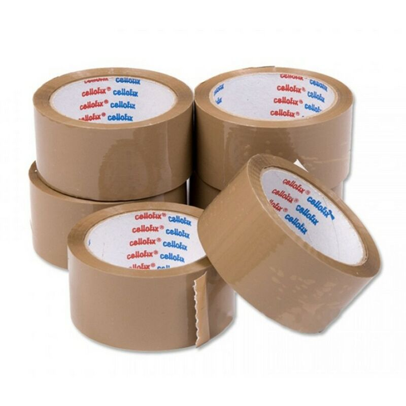 Image of Packing Tape (Pack of 6) (One Size) (Brown) - Cellofix