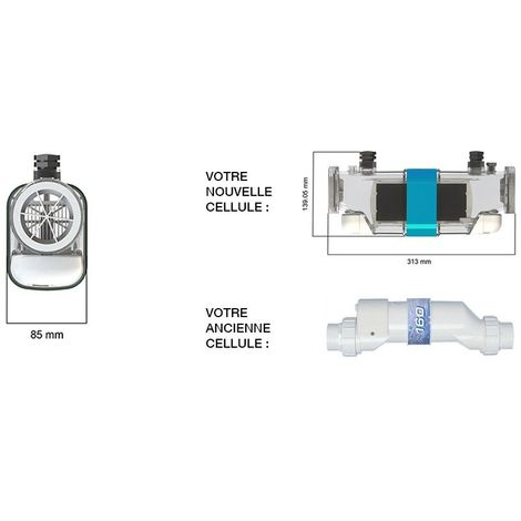 Cellule d'électrolyseur Limpido 100 prise 2 cosses - CCEI