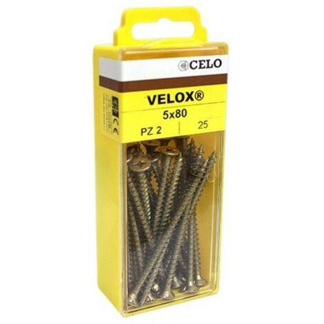 CELO 4B460VLOX - vis Blister VElOX à filetage complet tête fraisée rapide PZ 4x60mm bicromatado (récipient 45 ud)