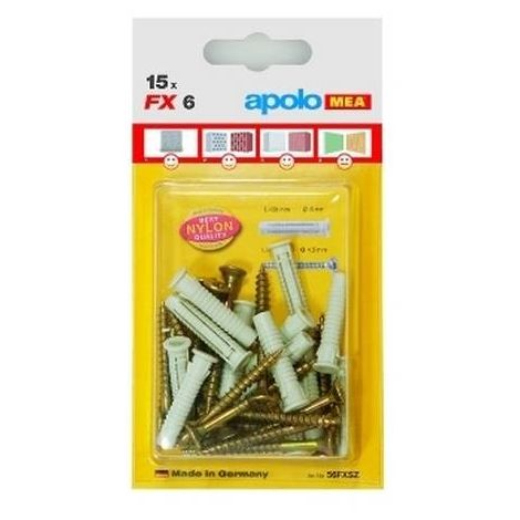 CELO 512FXK2 Blister taco de nylon multimaterial de cuádruple expansión con tornillo FX 12 SKS (Envase 2 ud)