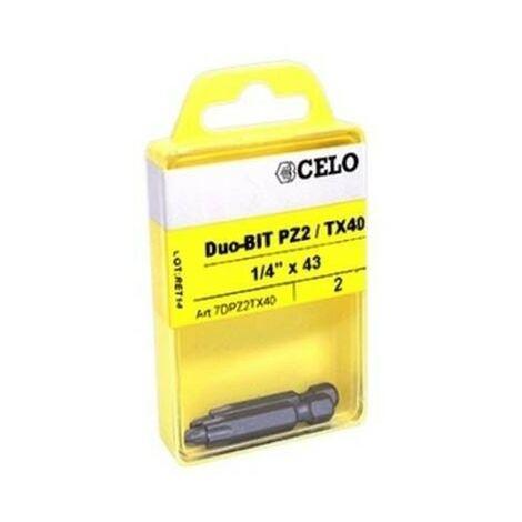 CELO 7DPZ2TX40 - embout de vis Duo-Bit PZ2/TX40 pour IPl 60 taco 2 ud
