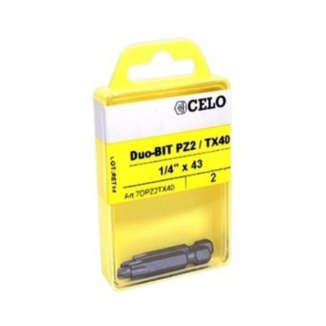 CELO 7DPZ2TX40 Punta de atornillar Duo-Bit PZ2/TX40 para taco IPL 60 (Envase 2 ud)