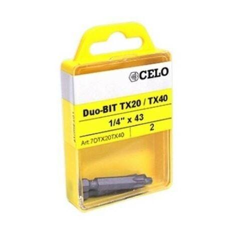 CELO 7DTX20TX40 - embout de vis double-Bit TX20/TX40 pour IPl 60 taco 2 ud