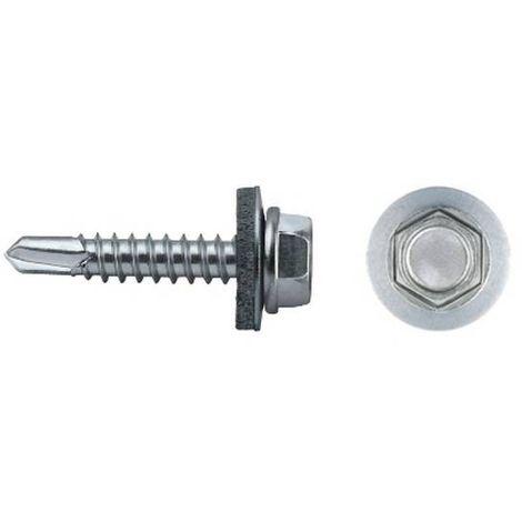 CELO 963507301 Tornillo punta broca hexagonal DIN 7301 6,3X50 mm zincado arandela de EPDM 16 (Envase 250 ud)