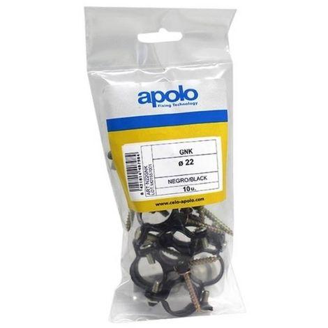 CELO N22GNK Bolsa abrazadera metálica plastificada para conductos de gas M6 tipo GNK 22 mm negra (Envase 10 ud)