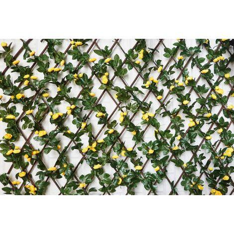 Celosía Extensible, Jardín Vertical/Horizontal con estructura. Flores Hojas Artificiales Enredadera Pared