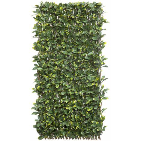 Celosía extensible mimbre natural y hojas laurel 1x3m Nortene WILLGREEN