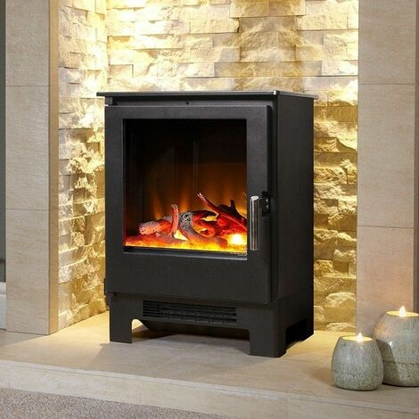 Celsi Electric Fireplace Stove Heater Fire Place Flame Effect Freestanding Black