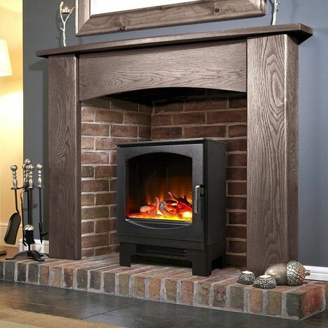 Celsi Electric Stove Heater Fireplace Black Flame Effect Freestanding Glass