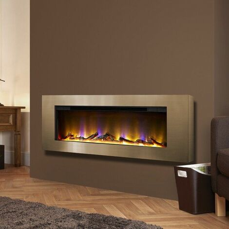 Celsi Electriflame Basilica Wall Mounted Fire Champagne Fireplace Glass Flame