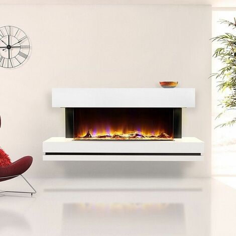 Celsi Electriflame Electric Fire White Fireplace Remote Control LED Wall Mounted