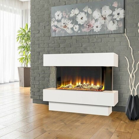 Celsi Electriflame Freestanding White Fireplace Electric Fire Remote Control