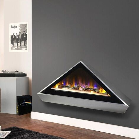 Celsi Electriflame Louvre Wall Mounted Fire Silver Fireplace Glass Flame