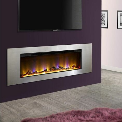 Celsi Electriflame VR Flame Inset Wall Mounted Electric Fire Fireplace Silver