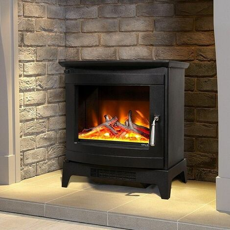 Celsi Freestanding Electric Stover Fire Heated Wood Burning Flame Effect Black