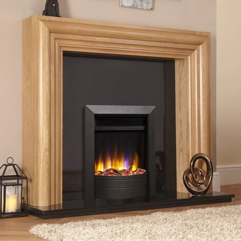 Celsi Ultiflame VR Inset Electric Fire Fireplace Heating Satin Black Log Effect