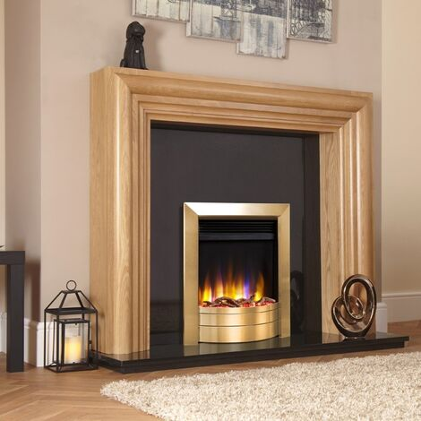 Celsi Ultiflame VR Inset Electric Fire Fireplace Heating Satin Brass Log Effect
