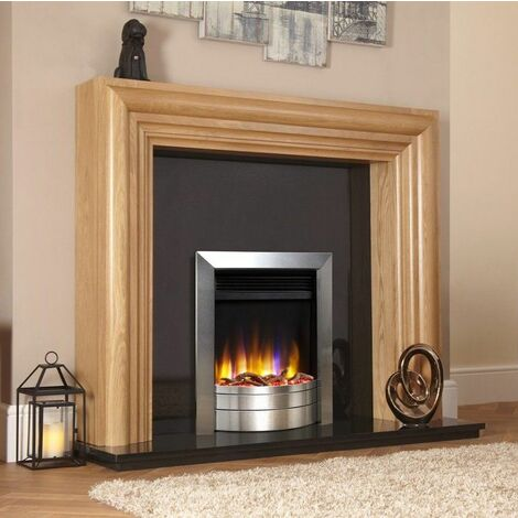 Celsi Ultiflame VR Inset Electric Fire Fireplace Heating Satin Silver Log Effect