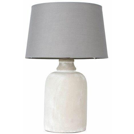 """main image of """"Cement Base Table Lamp Grey Light Shade - Add LED Bulb"""""""