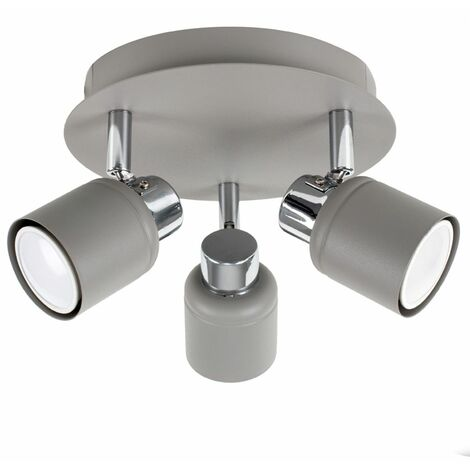 Cement & Chrome 3 Way Round Plate Ceiling Spotlight + 5W LED Gu10 Bulbs - Cool White - Grey