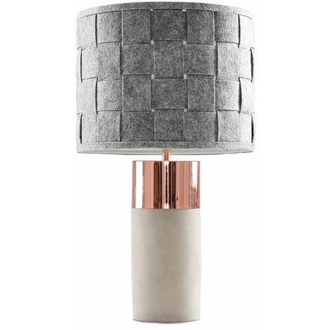 Cement / Stone & Copper Table Lamp + Grey Felt Weave Light Shade + 4W LED Candle Bulb Warm White