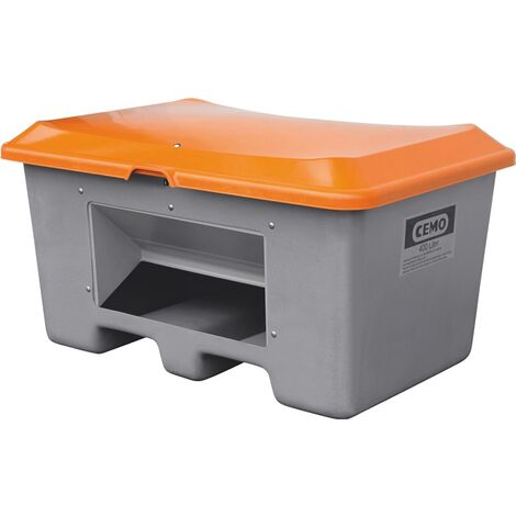 CEMO Streugutbehälter aus GfK - Volumen 400 l, mit Entnahmeöffnung, unterfahrbar