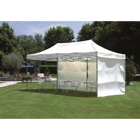 Cenador 3x6 m con estructura de aluminio y tela Blanca | Blanco
