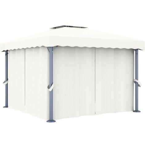 Cenador con cortina blanco crema aluminio 3x3 m