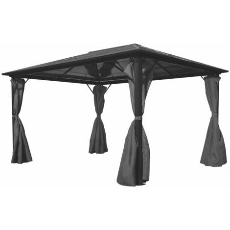 Cenador con cortina gris antracita aluminio 400x300 cm