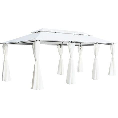 Cenador con cortinas 600x298x270 cm blanco