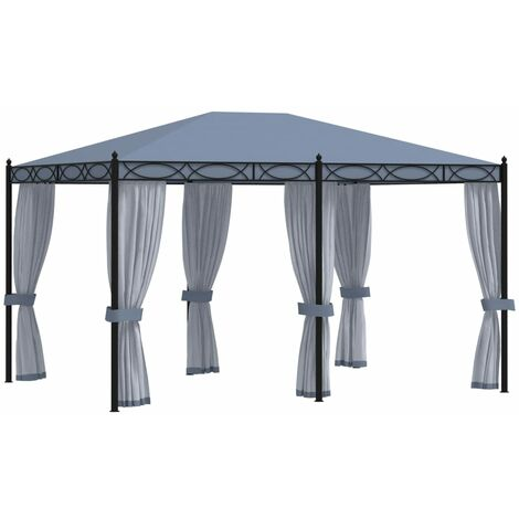 Cenador con cortinas acero gris antracita 3x4 m