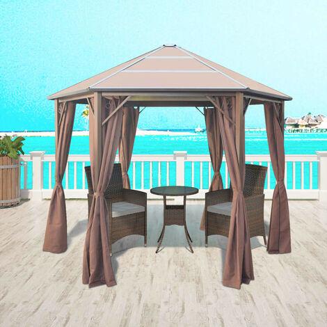 Cenador con cortinas aluminio 310x270x265 cm marrón