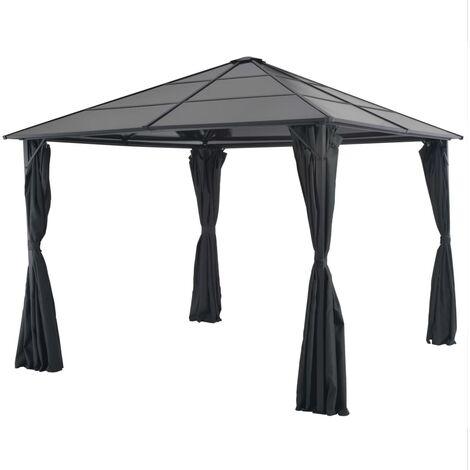 Cenador con cortinas aluminio 3x3 m negro