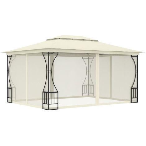 Cenador con cortinas color crema 300x400x265 cm