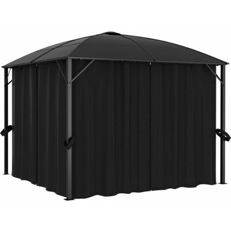 Cenador con cortinas gris antracita 300x300x265 cm