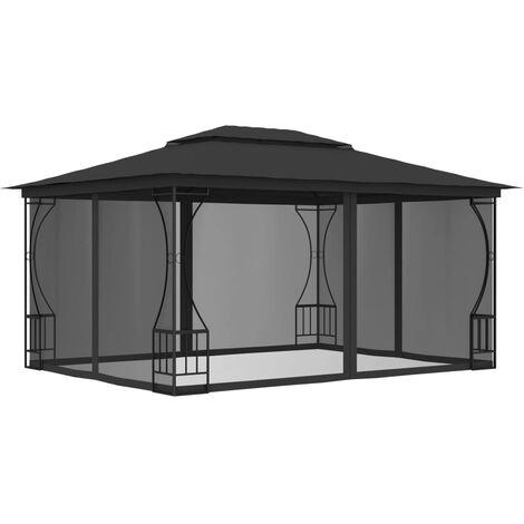 Cenador con cortinas gris antracita 300x400x265 cm