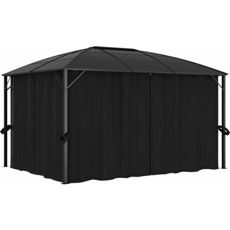 Cenador con cortinas gris antracita 400x300x265 cm