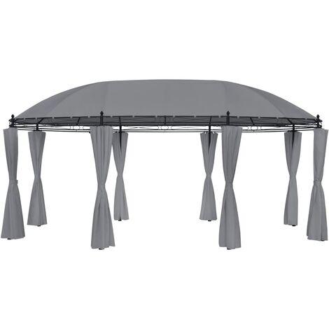 Cenador con cortinas gris antracita 530x350x265 cm