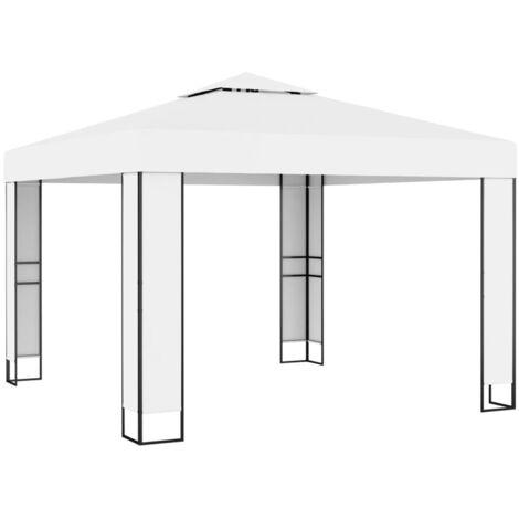 Cenador con doble techo color crema 3x3 m