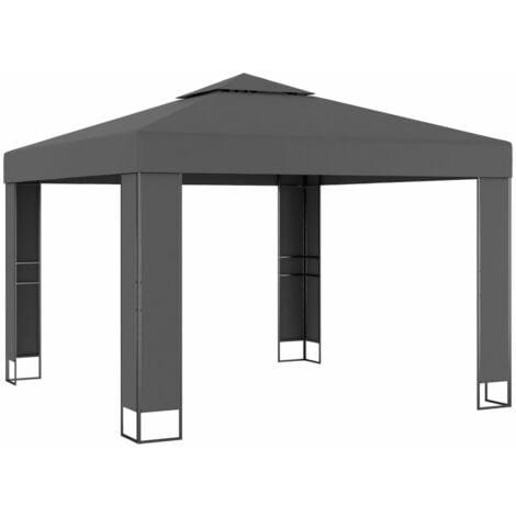Cenador con doble techo gris antracita 3x3 m