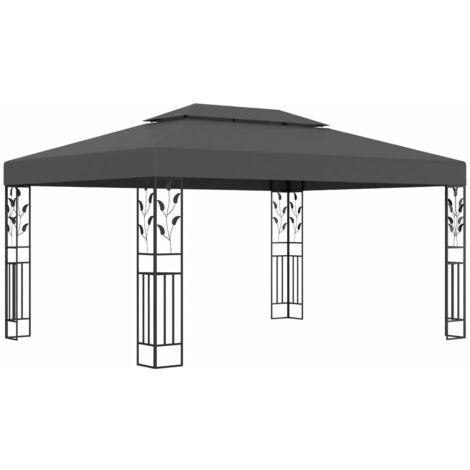 Cenador con doble techo gris antracita 3x4 m