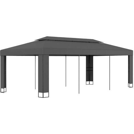 Cenador con doble techo gris antracita 3x6 m