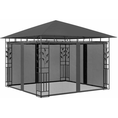 Cenador con mosquitera gris antracita 3x3x2,73 m 180 g/m²