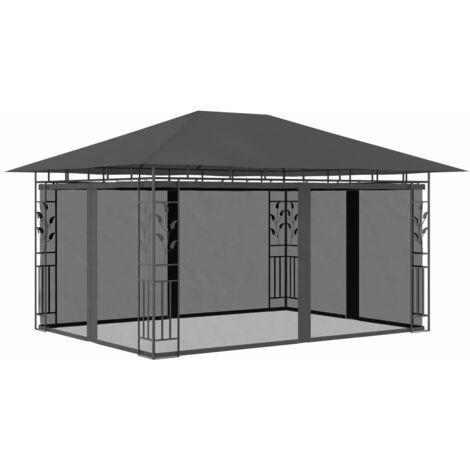Cenador con mosquitera gris antracita 4x3x2,73 m 180 g/m²