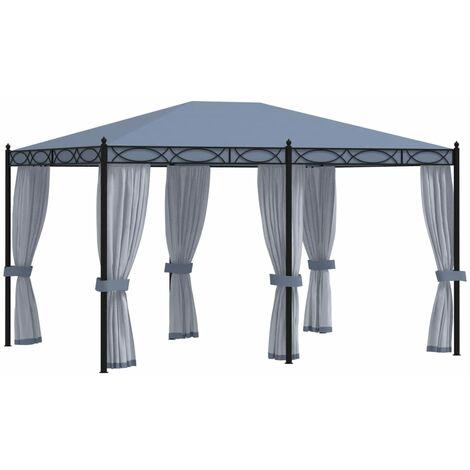 Cenador con pantallas de malla acero gris antracita 3x4 m