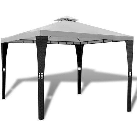Cenador con techo 3x3 m blanco crema